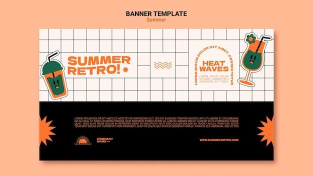 Modelo de banner horizontal de verão retrô