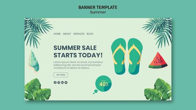 Modelo de banner horizontal de verão