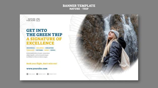 Modelo de banner horizontal de viagem natural