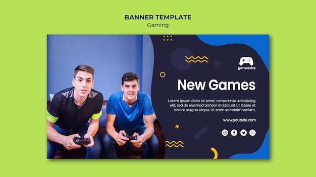 Modelo de banner horizontal de videogame com foto