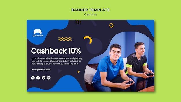 Modelo de banner horizontal de videogame