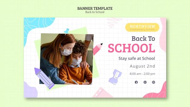 Modelo de banner horizontal de volta às aulas