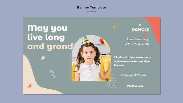 Modelo de banner horizontal divertido de aniversário