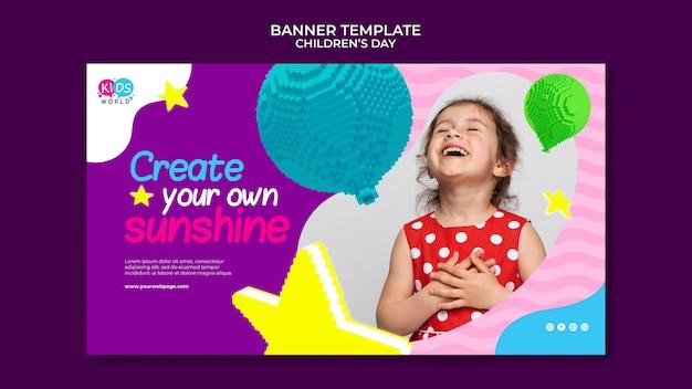 Modelo de banner horizontal divertido e colorido para o dia das crianças