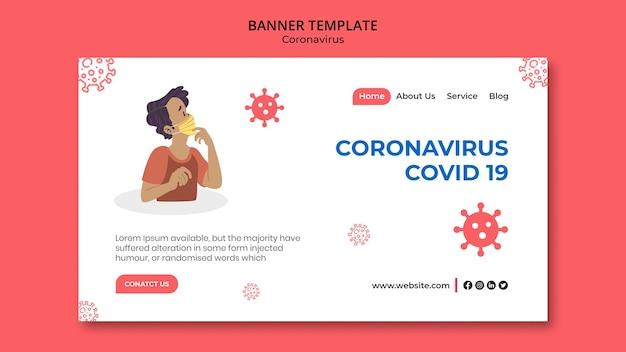 Modelo de banner horizontal do coronavirus