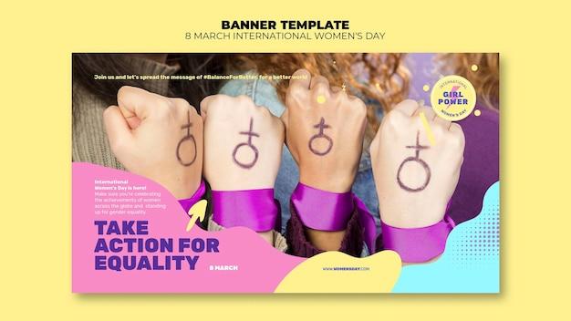 Modelo de banner horizontal do dia da mulher bonita com foto