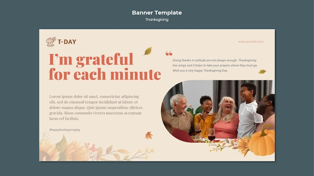 Modelo de banner horizontal do dia de ação de graças