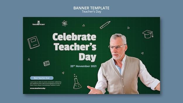 Modelo de banner horizontal do dia do professor