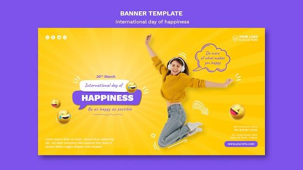 Modelo de banner horizontal do dia internacional da felicidade