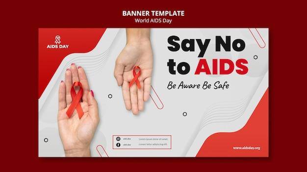 Modelo de banner horizontal do dia mundial da aids