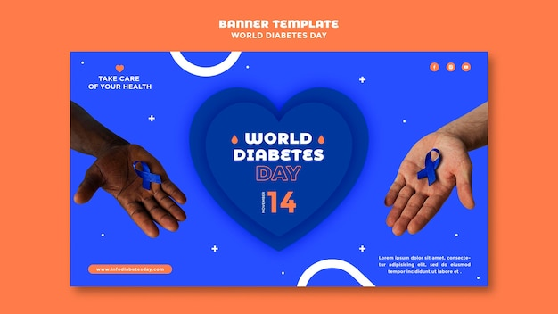 Modelo de banner horizontal do dia mundial da diabetes