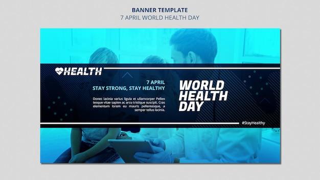 Modelo de banner horizontal do dia mundial da saúde com foto