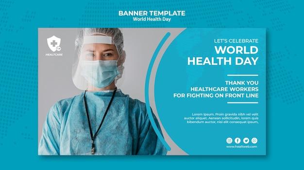 Modelo de banner horizontal do dia mundial da saúde