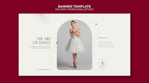 Modelo de banner horizontal do dia mundial do balé