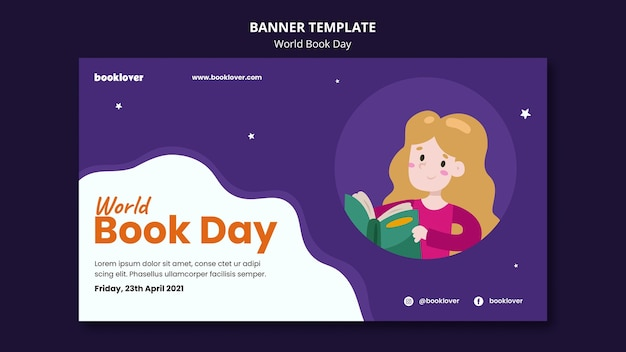 Modelo de banner horizontal do dia mundial do livro