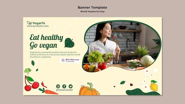 Modelo de banner horizontal do dia vegetariano mundial