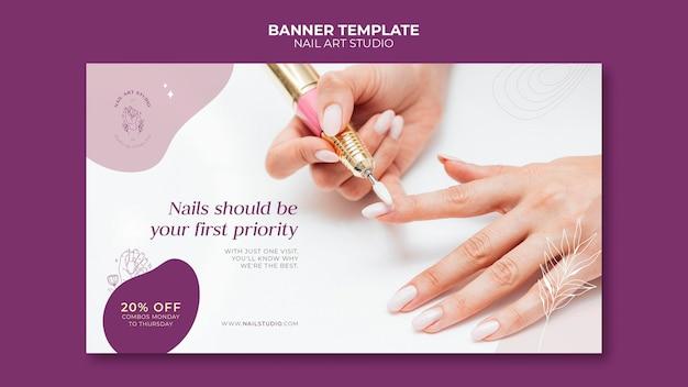 Modelo de banner horizontal do nail art studio