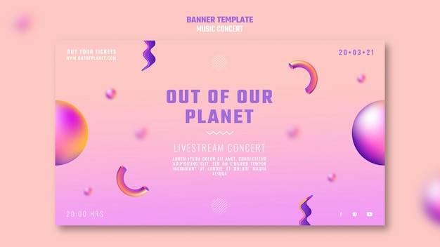 Modelo de banner horizontal do show de música out of our planet