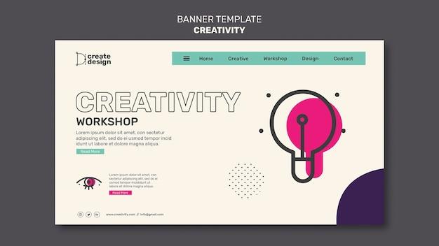Modelo de banner horizontal do workshop de criatividade
