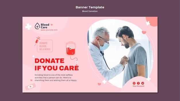 Modelo de banner horizontal doando sangue