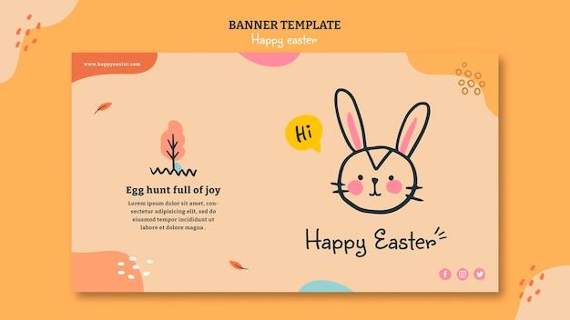 Modelo de banner horizontal feliz dia de páscoa