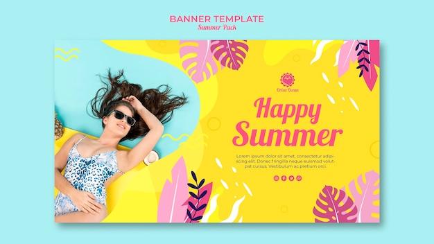 Modelo de banner horizontal feliz verão