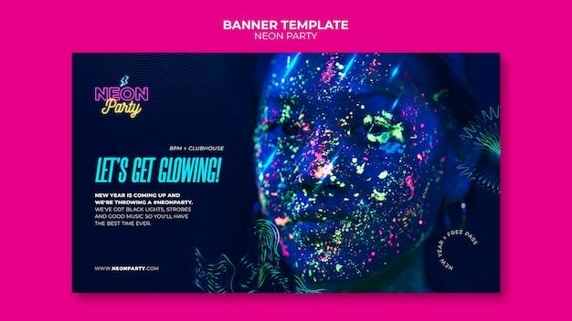 Modelo de banner horizontal festa neon