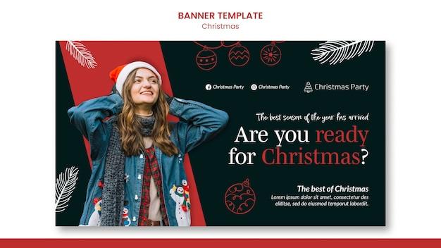 Modelo de banner horizontal festivo de natal