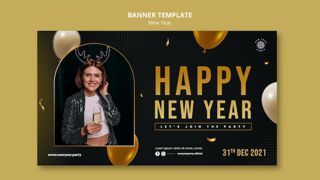 Modelo de banner horizontal festivo de véspera de ano novo