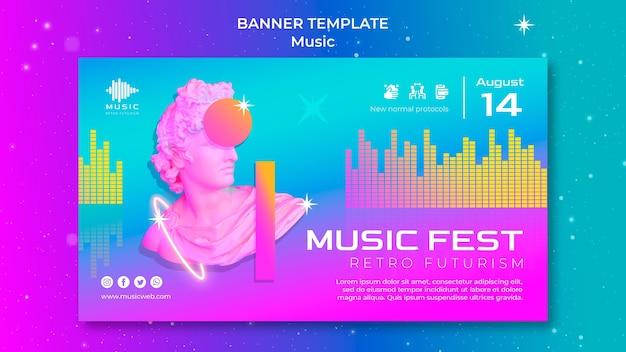 Modelo de banner horizontal futurista retrô para festival de música
