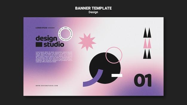Modelo de banner horizontal geométrico para estúdio de design