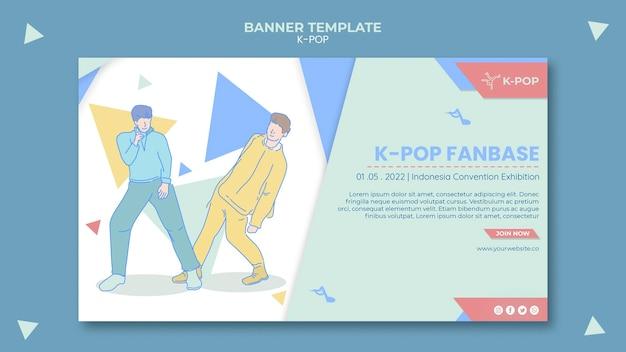 Modelo de banner horizontal k-pop ilustrado