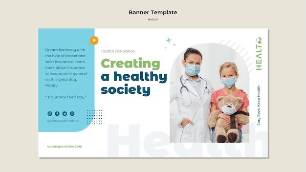 Modelo de banner horizontal médico