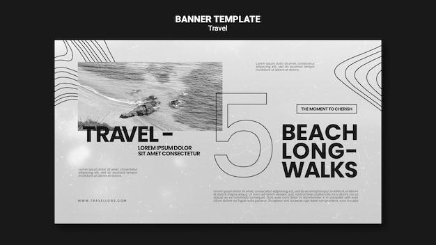 Modelo de banner horizontal monocromático para longas caminhadas relaxantes na praia