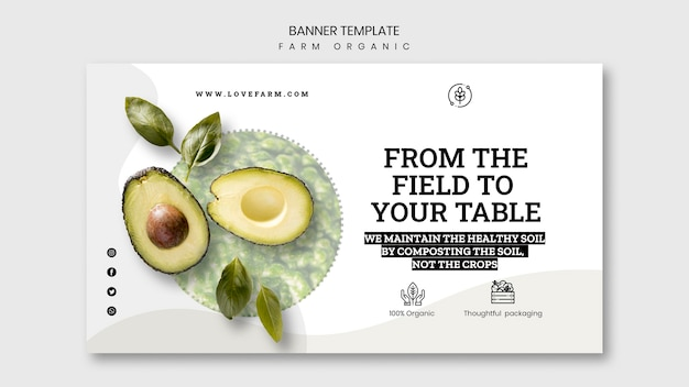 Modelo de banner horizontal orgânico de fazenda