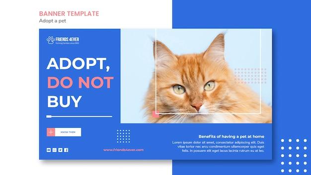 Modelo de banner horizontal para a adoção de animais de estimação com gato