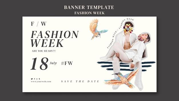 Modelo de banner horizontal para a semana da moda