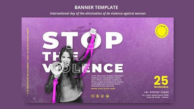 Modelo de banner horizontal para acabar com a violência contra as mulheres