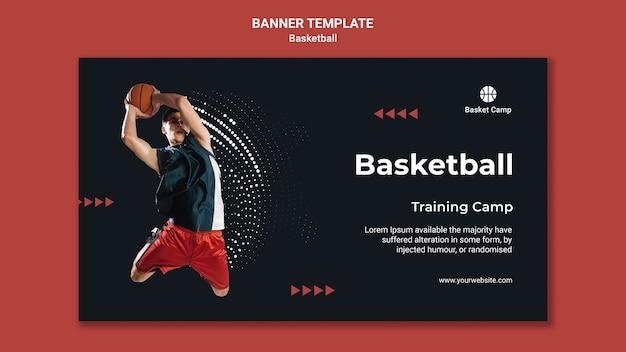 Modelo de banner horizontal para acampamento de treinamento de basquete