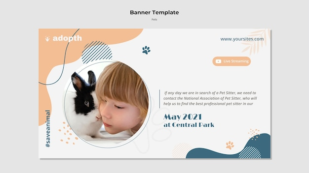 Modelo de banner horizontal para adoção de animais de estimação