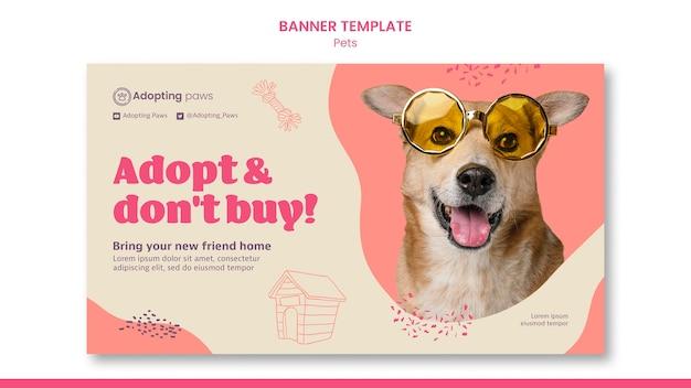 Modelo de banner horizontal para adoção de animal de estimação com cachorro