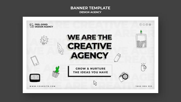 Modelo de banner horizontal para agência de design
