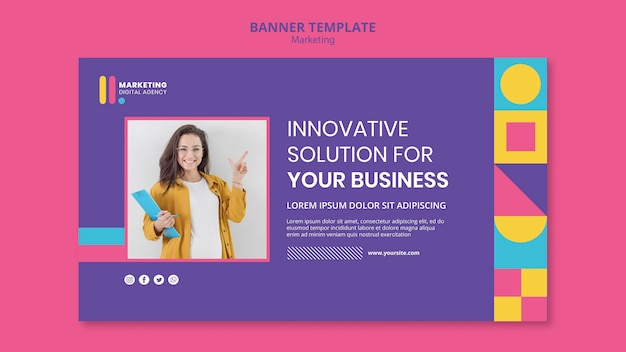 Modelo de banner horizontal para agência de marketing criativo