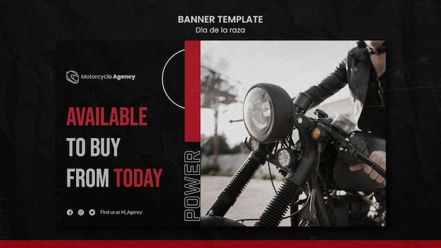 Modelo de banner horizontal para agência de motocicletas com piloto masculino