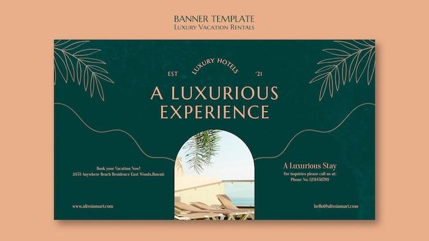 Modelo de banner horizontal para aluguel por temporada de luxo