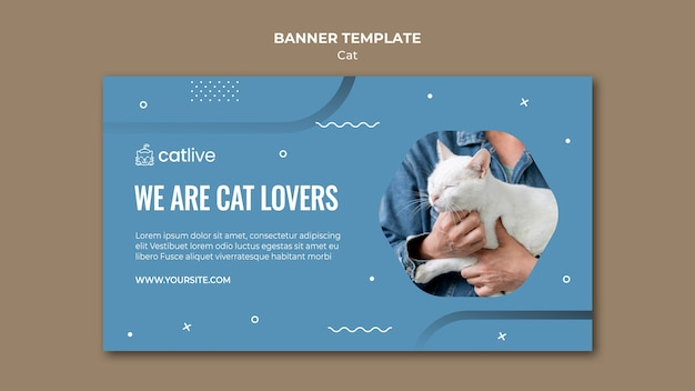 Modelo de banner horizontal para amante de gatos
