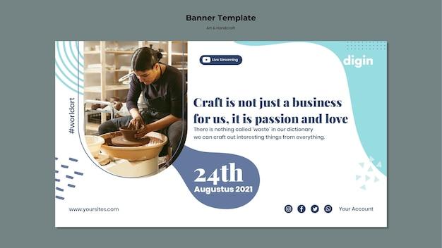 Modelo de banner horizontal para arte e artesanato