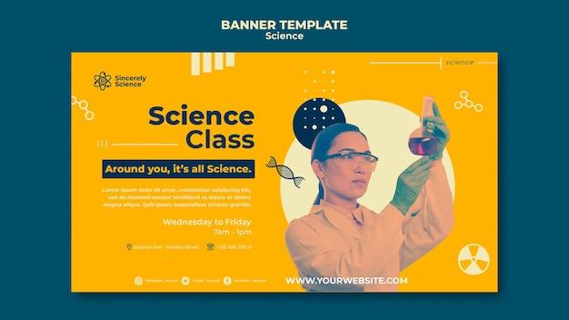 Modelo de banner horizontal para aula de ciências