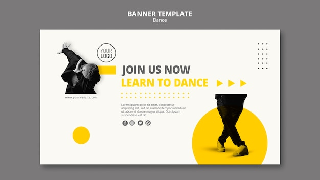 Modelo de banner horizontal para aulas de dança