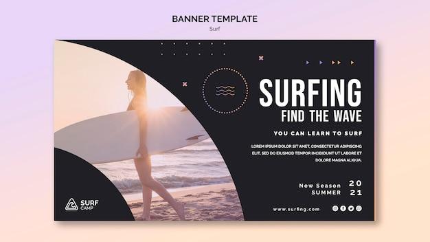 Modelo de banner horizontal para aulas de surf